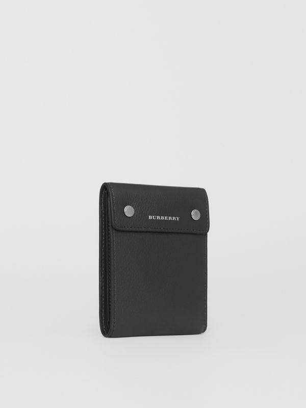 Press-stud Leather International Bifold Wallet in Black - Men | Burberry United States - cell image 3