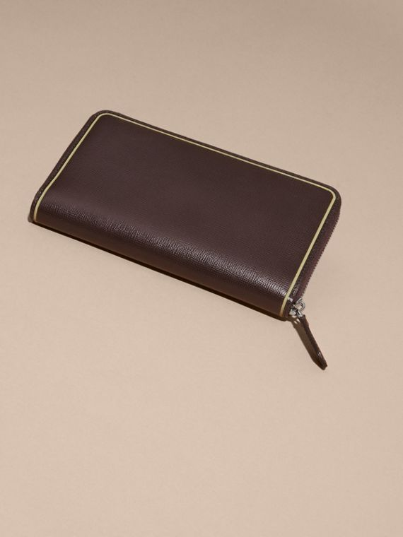 Border Detail London Leather Ziparound Wallet Peppercorn - cell image 2