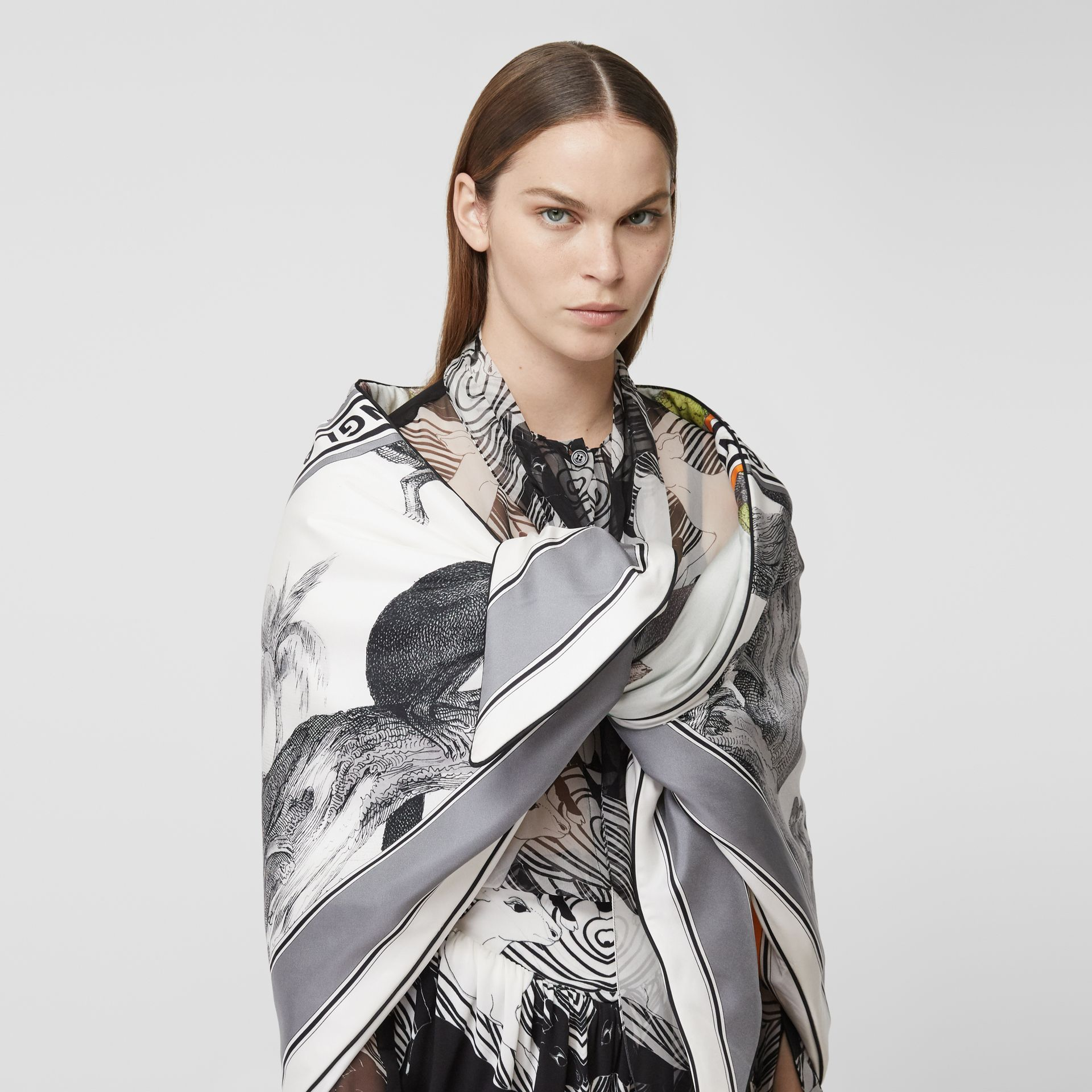 Monkey Print Silk Puffer Bandana in Opal Green | Burberry United Kingdom - gallery image 1
