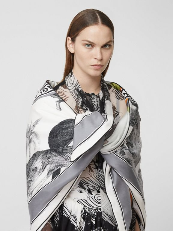 Monkey Print Silk Puffer Bandana in Opal Green | Burberry United Kingdom - cell image 1