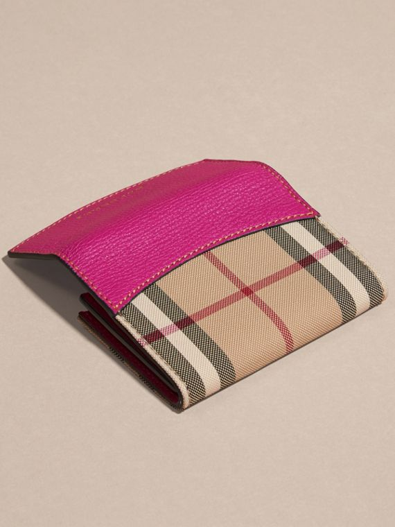 Brilliant fuchsia Horseferry Check and Leather Card Case Brilliant Fuchsia - cell image 3