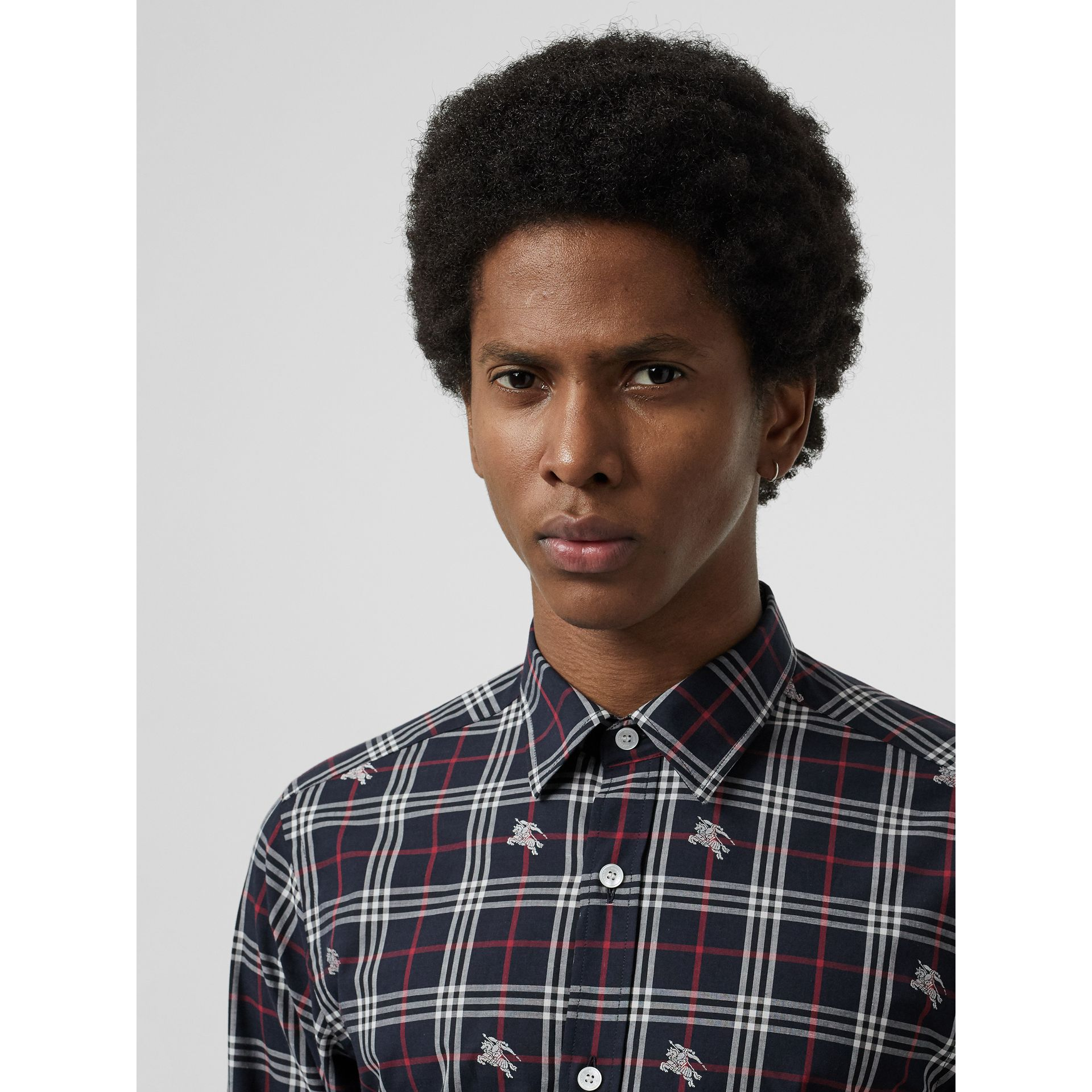 Equestrian Knight Check Cotton Shirt in Dark Navy - Men | Burberry Singapore - gallery image 1