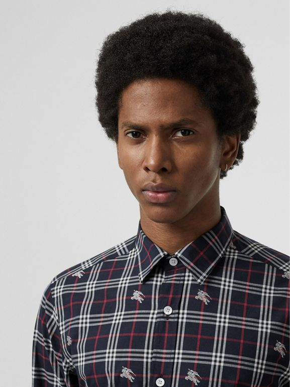 Equestrian Knight Check Cotton Shirt in Dark Navy - Men | Burberry - cell image 1