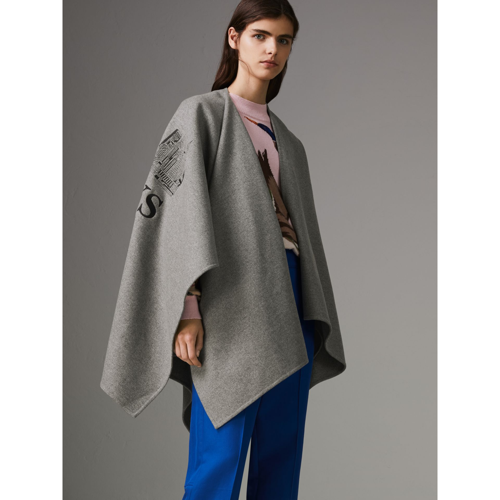 Embroidered Skyline Cashmere Poncho in Pale Grey Melange - Women | Burberry Singapore - gallery image 4