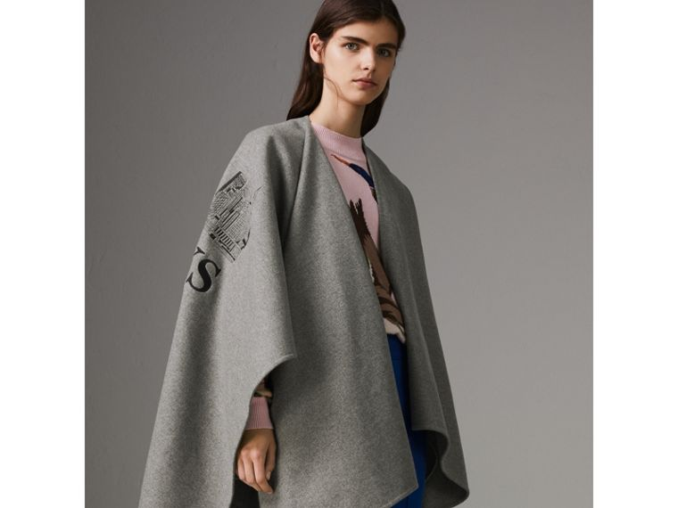 Embroidered Skyline Cashmere Poncho in Pale Grey Melange - Women | Burberry - cell image 4