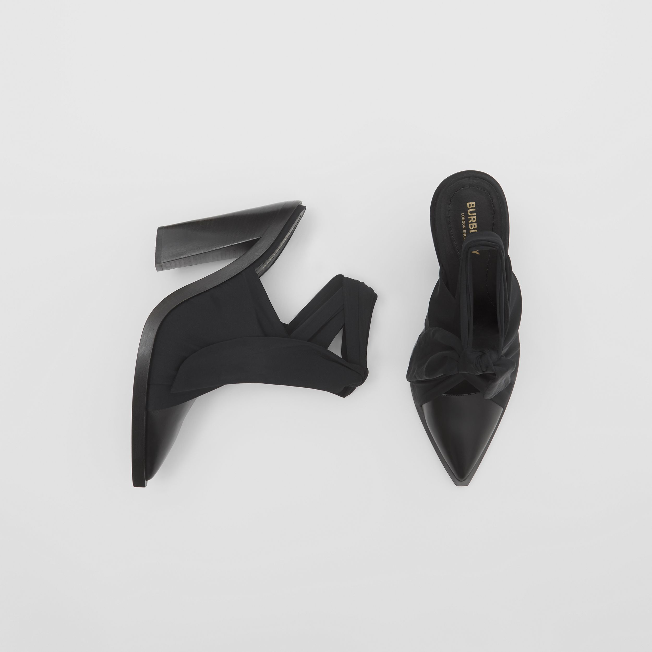 Scarf Tie Detail Leather Point-toe Mules in Black - Women | Burberry United Kingdom - 1