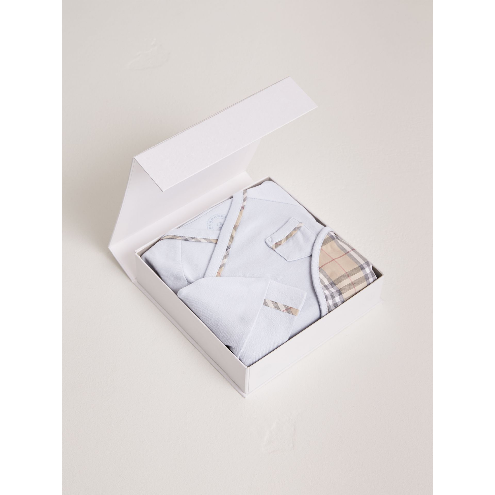 Cotton Three-piece Baby Gift Set in Ice Blue | Burberry - gallery image 2