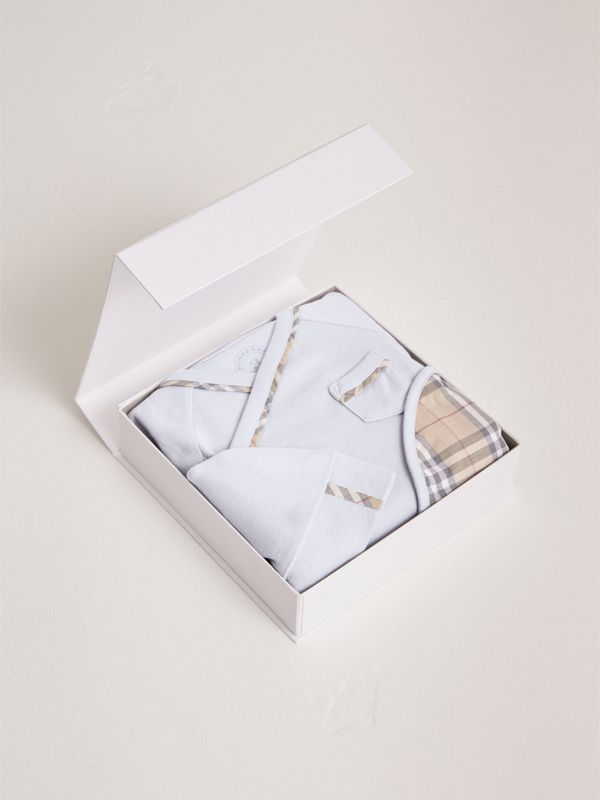 Cotton Three-piece Baby Gift Set in Ice Blue - Children | Burberry - cell image 2