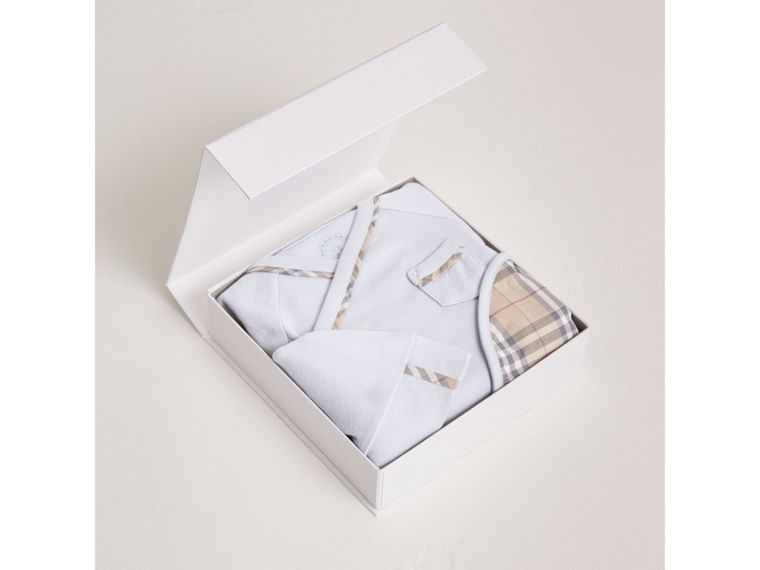 Cotton Three-piece Baby Gift Set in Ice Blue | Burberry - cell image 2