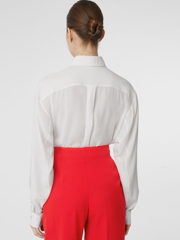 Press-stud Silk Crepe De Chine Shirt in White - Women | Burberry - cell image 2
