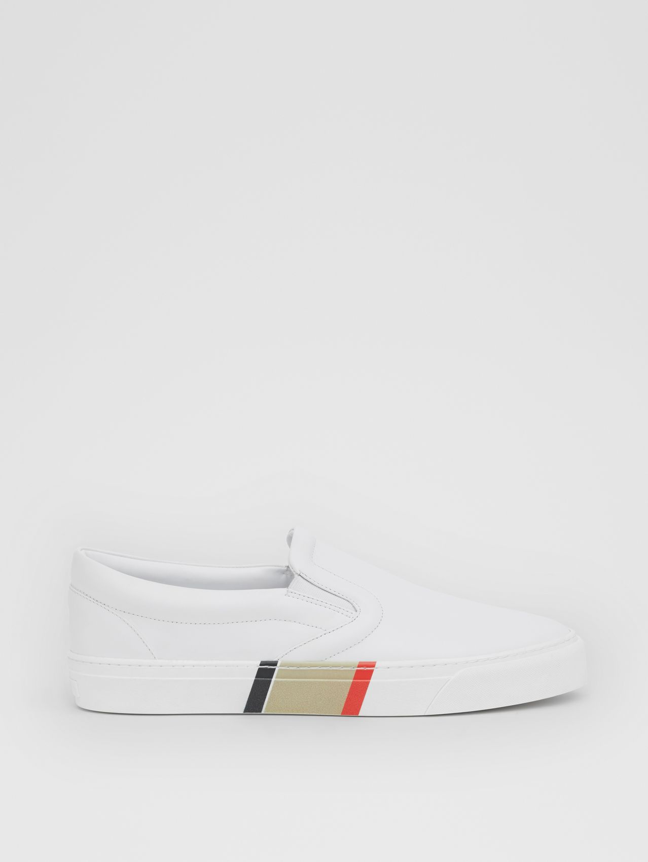 Stripe Print Leather Slip-on Sneakers (Optic White)