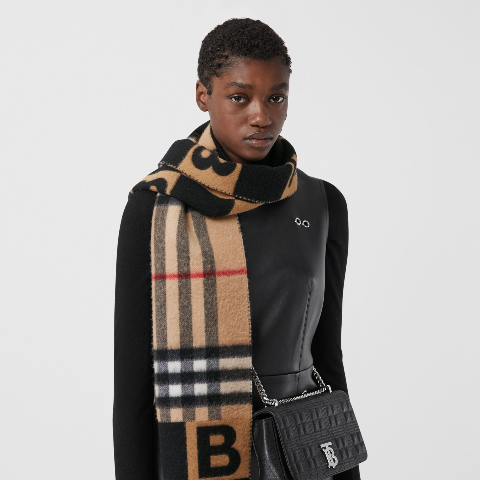 Check and B Motif Wool Cashmere Scarf in Black | Burberry - gallery image 6
