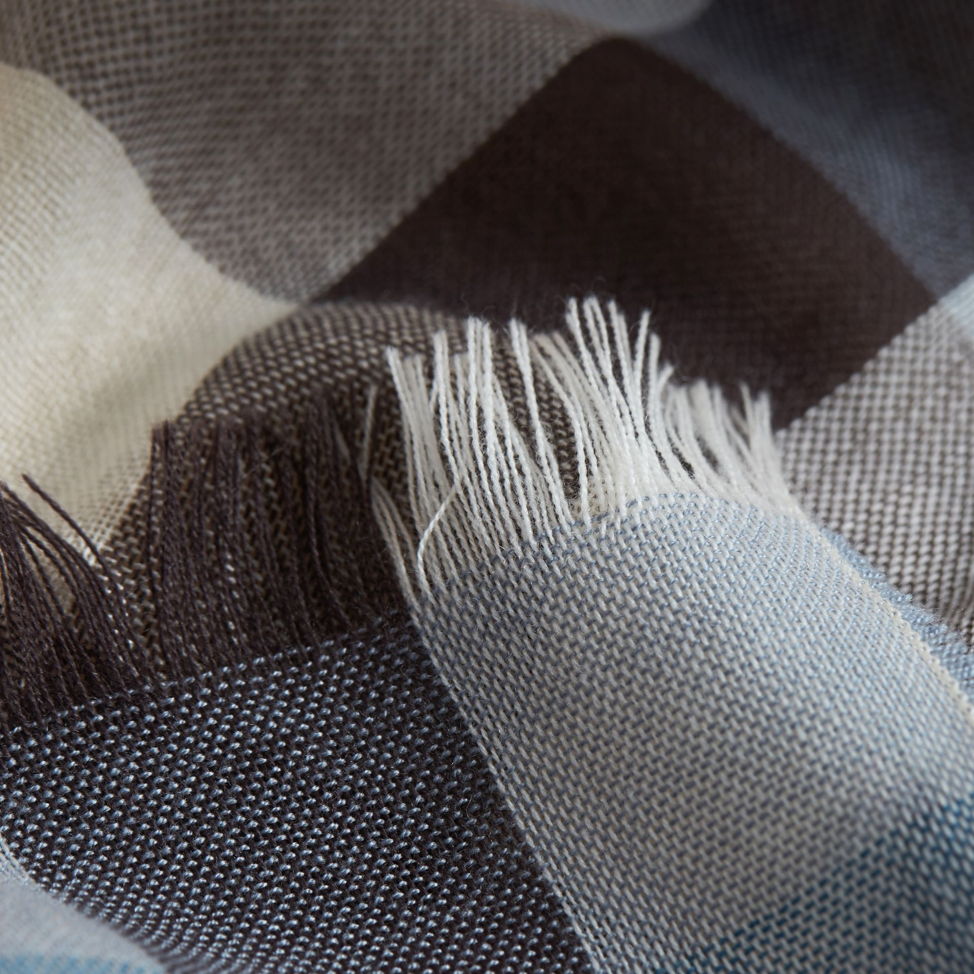 Lightweight Check Wool Cashmere Scarf in Mist Grey | Burberry - gallery image 2