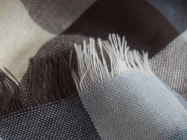 Lightweight Check Wool Cashmere Scarf in Mist Grey | Burberry - cell image 1