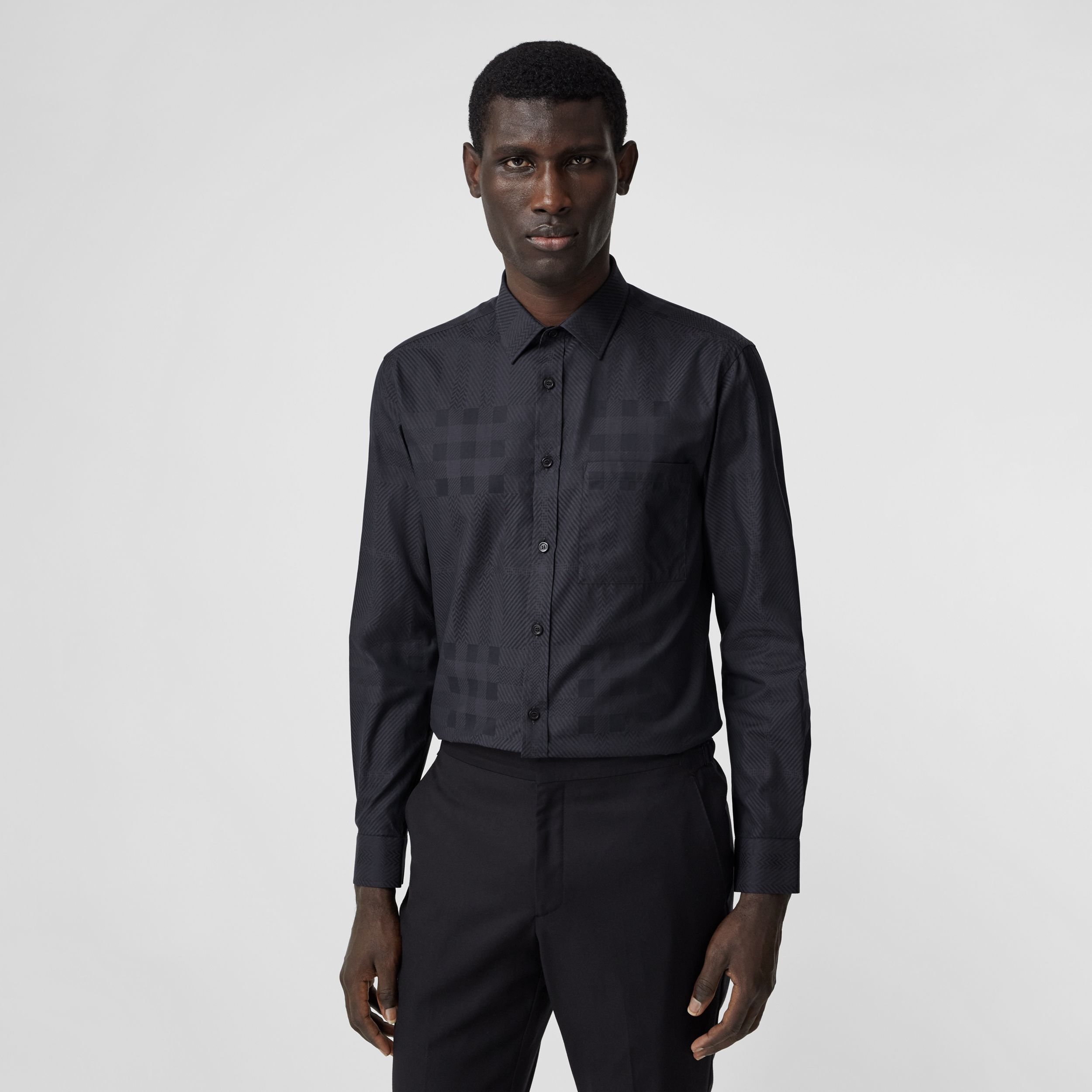 Slim Fit Check Cotton Jacquard Shirt in Charcoal - Men | Burberry - 1