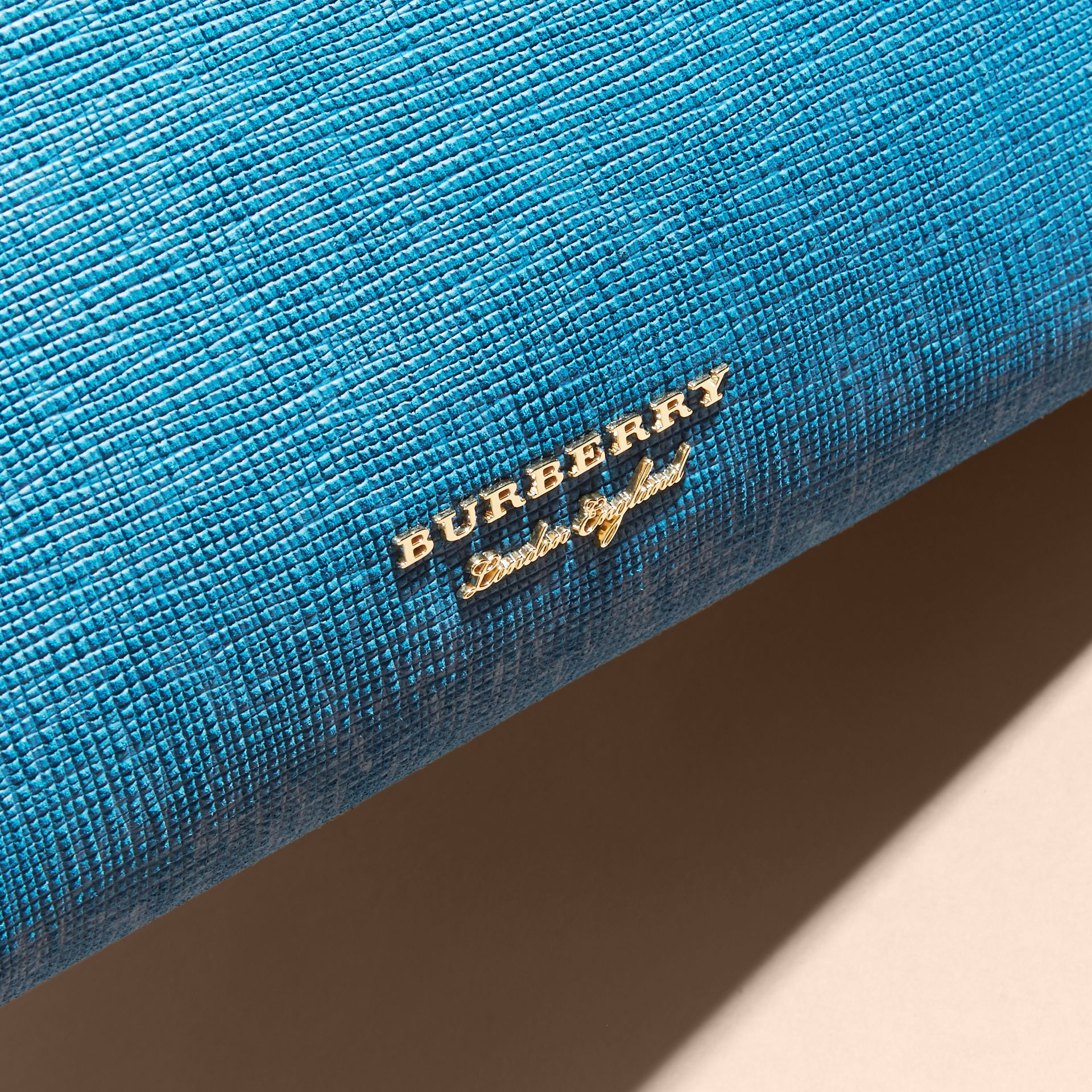 The Medium Banner in Leather, Python and House Check in Peacock Blue - Women | Burberry - gallery image 2