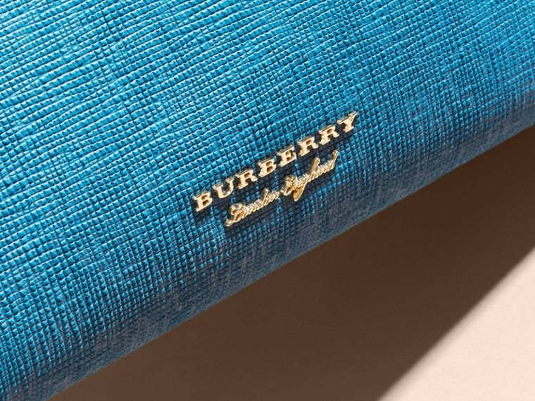 The Medium Banner in Leather, Python and House Check in Peacock Blue - Women | Burberry - cell image 1