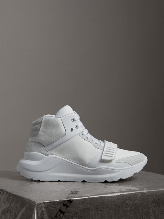 Suede Trim Neoprene High-top Sneakers in Optic White