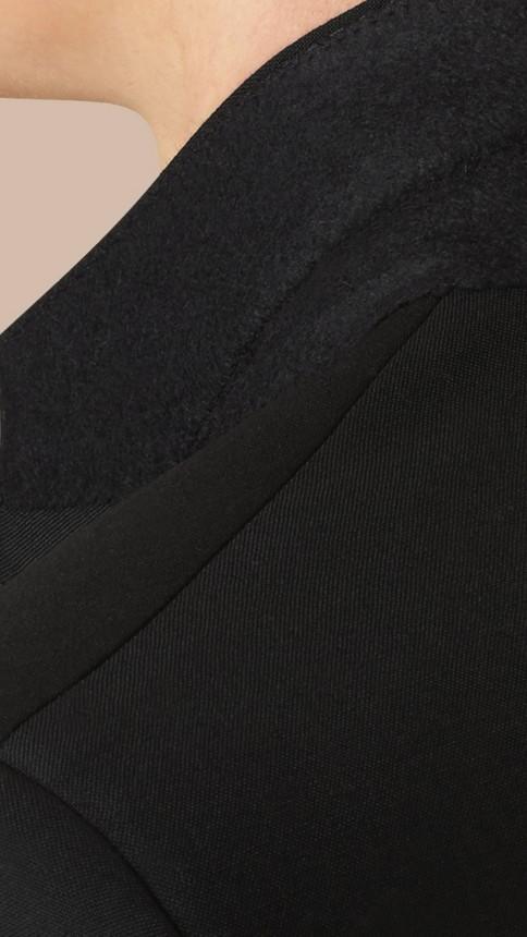 Black Modern Fit Wool Mohair Part-canvas Suit Black - Image 5