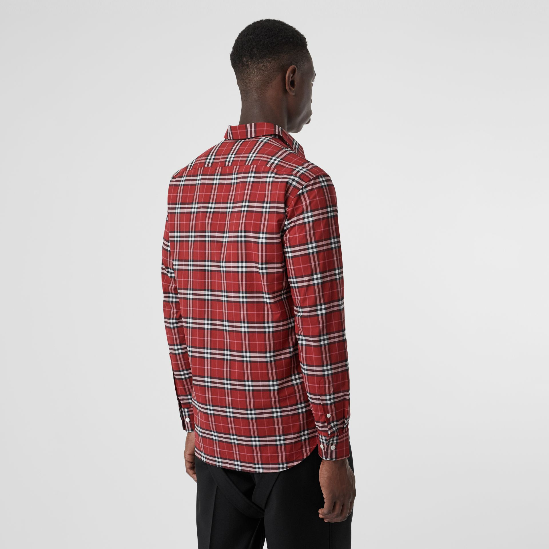 Check Stretch Cotton Shirt in Bright Red - Men | Burberry Australia - gallery image 2