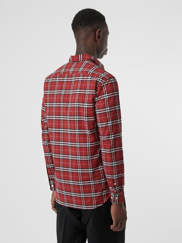 Check Stretch Cotton Shirt in Bright Red - Men | Burberry Australia - cell image 2