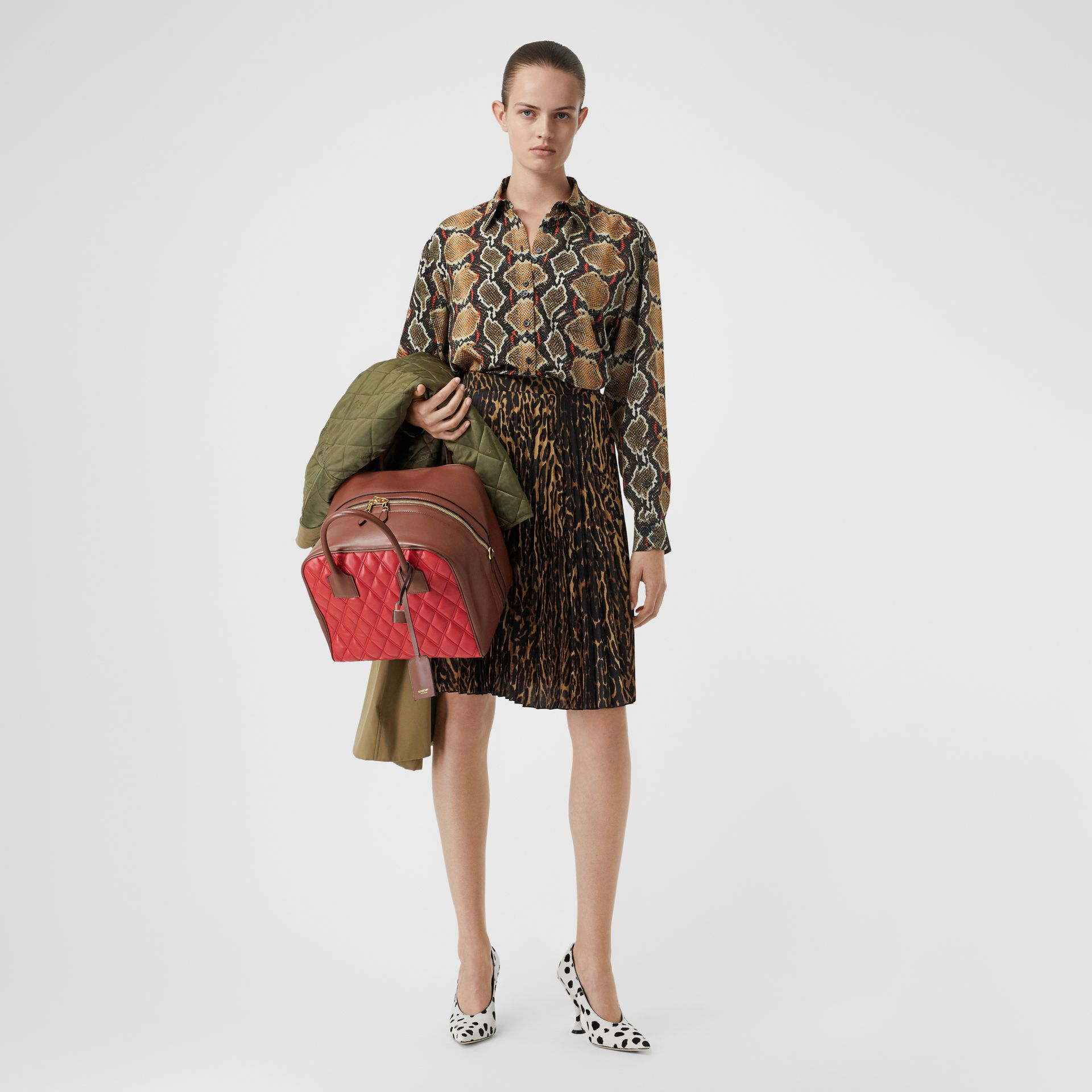 Chemise en soie à imprimé python (Cacao Doux) - Femme | Burberry - photo de la galerie 4