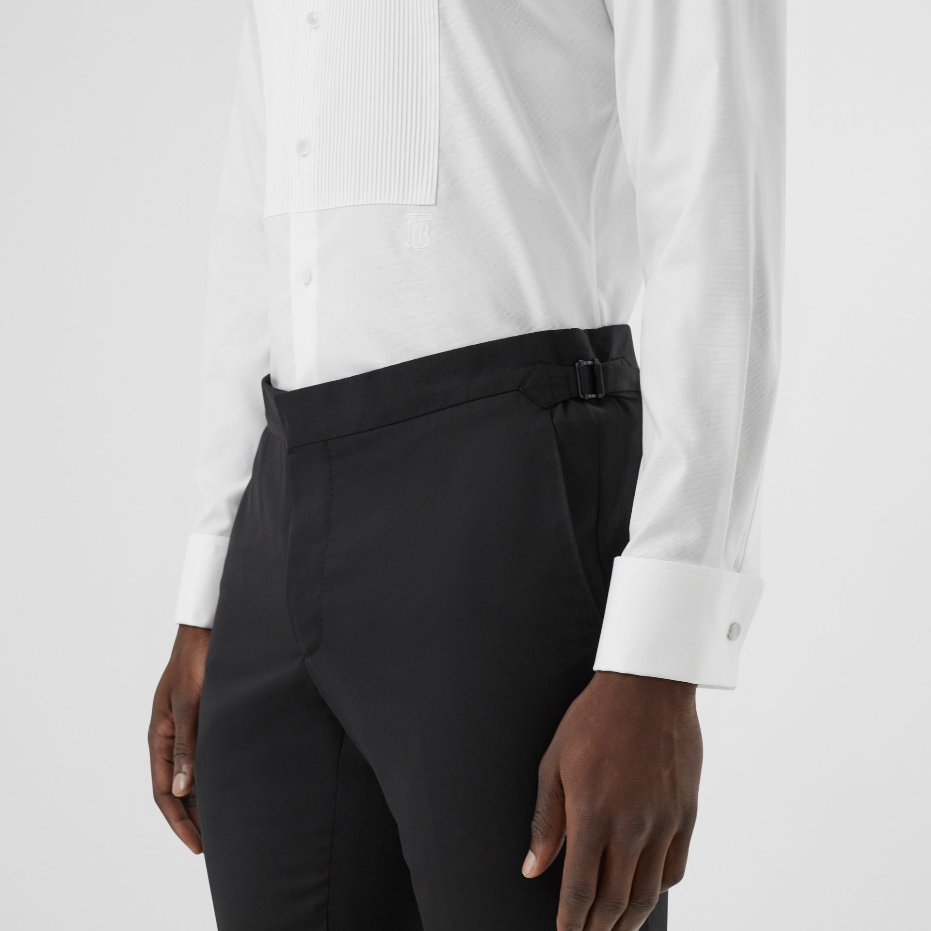 Ribbed Bib Cotton Oxford Dress Shirt in White - Men | Burberry - gallery image 4