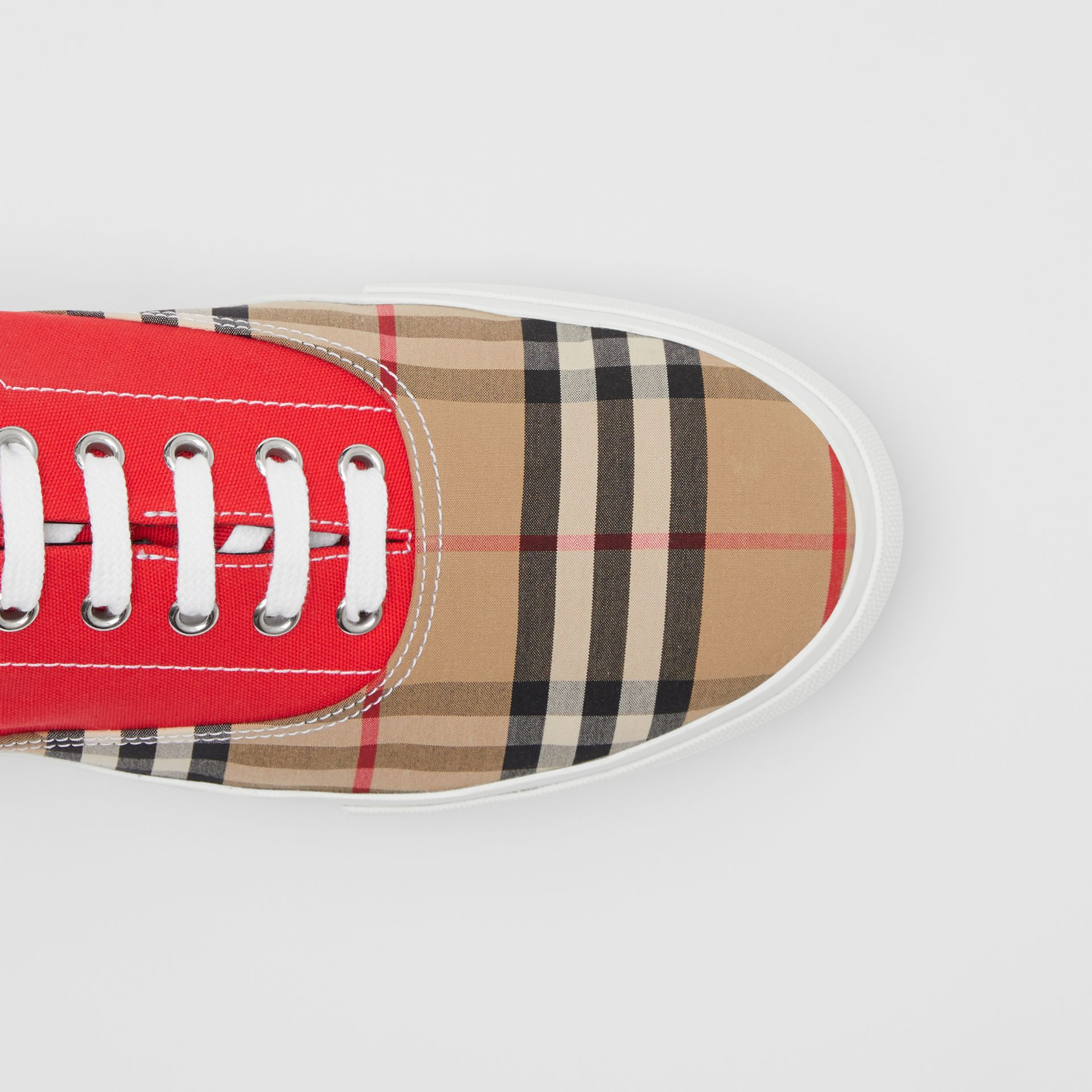 Vintage Check, Cotton Canvas and Suede Sneakers in Archive Beige/red - Men | Burberry - gallery image 1