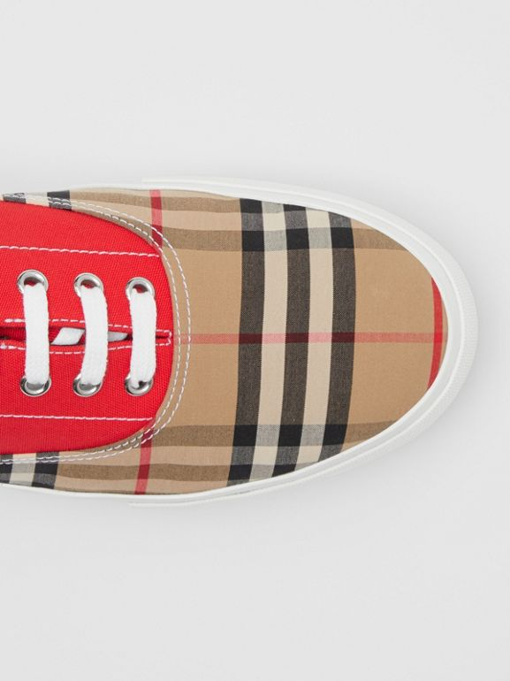 Vintage Check, Cotton Canvas and Suede Sneakers in Archive Beige/red - Men | Burberry Hong Kong S.A.R - cell image 1
