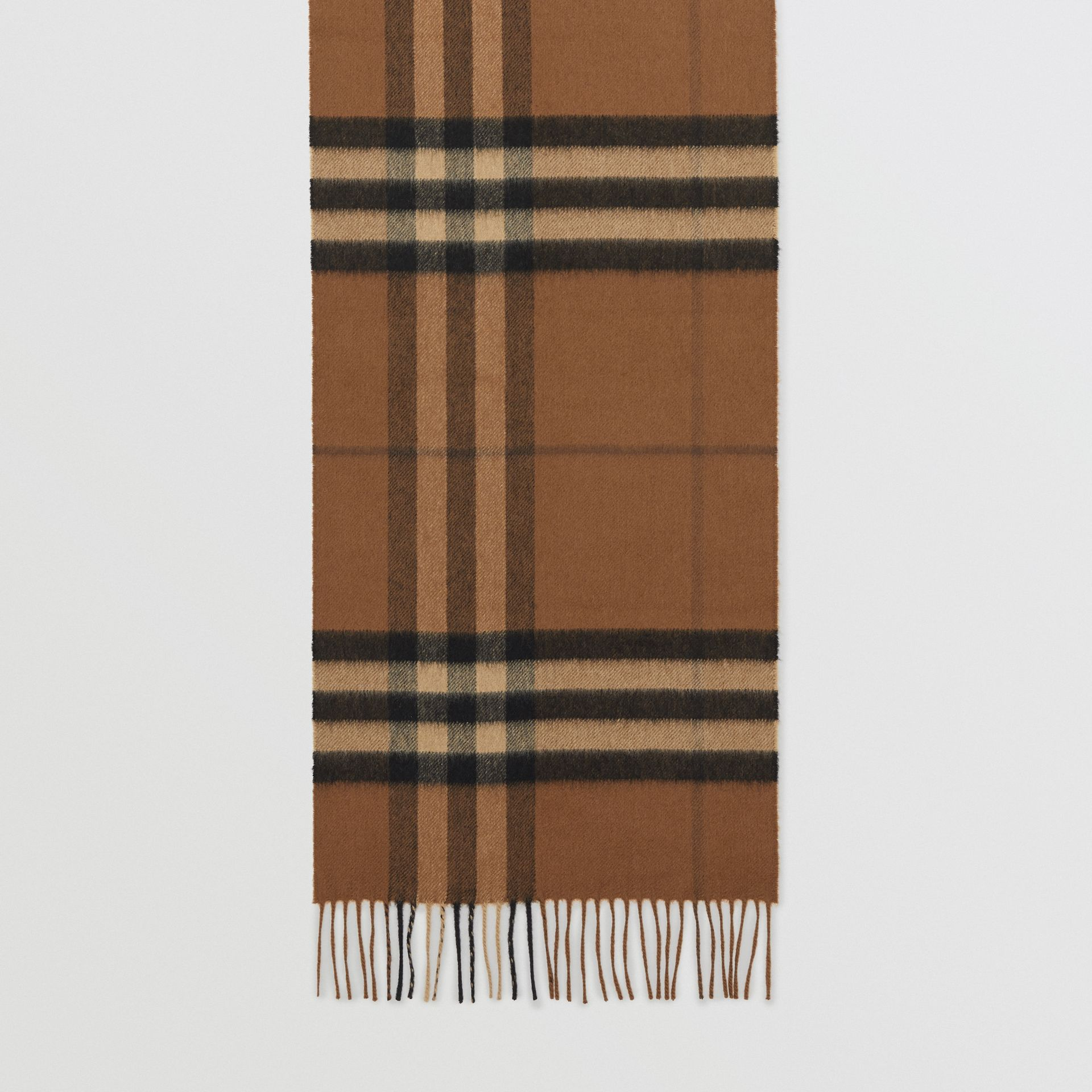 The Classic Check Cashmere Scarf in Bridle Brown | Burberry United States - gallery image 2