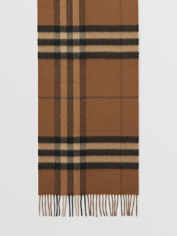 The Classic Check Cashmere Scarf in Bridle Brown | Burberry - cell image 2