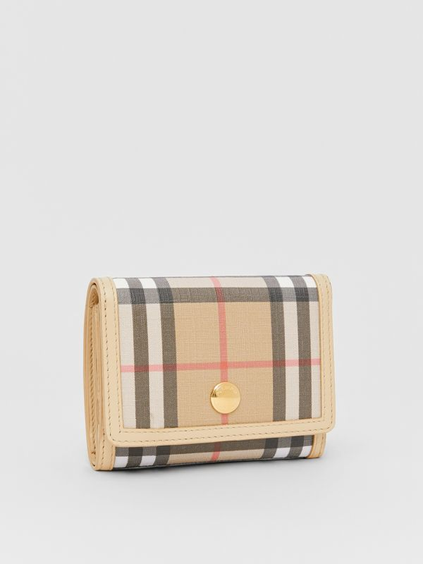 Small Vintage Check E-canvas Folding Wallet in Beige - Women | Burberry - cell image 3