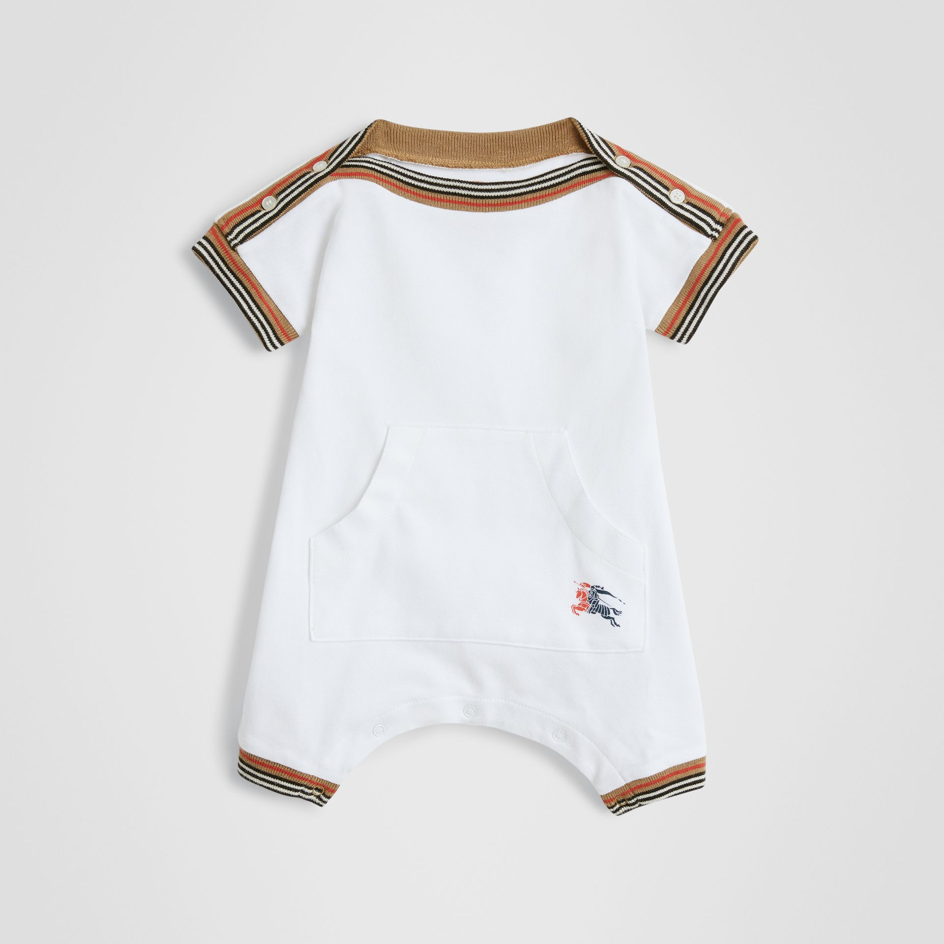 Icon Stripe Cotton Piqué Two-piece Baby Gift Set in White - Children | Burberry United States - gallery image 2