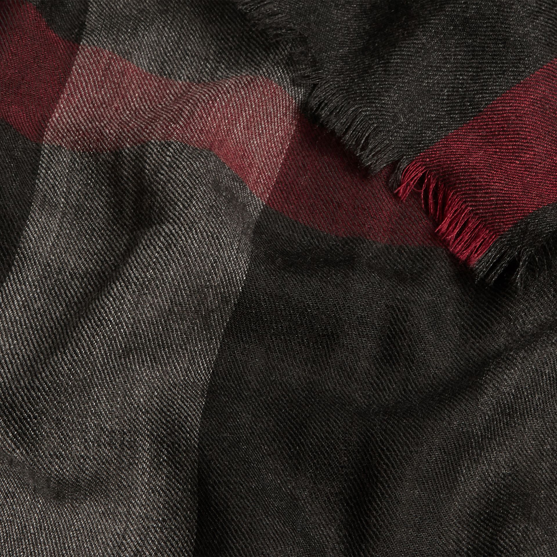The Lightweight Cashmere Scarf in Check in Charcoal - gallery image 5