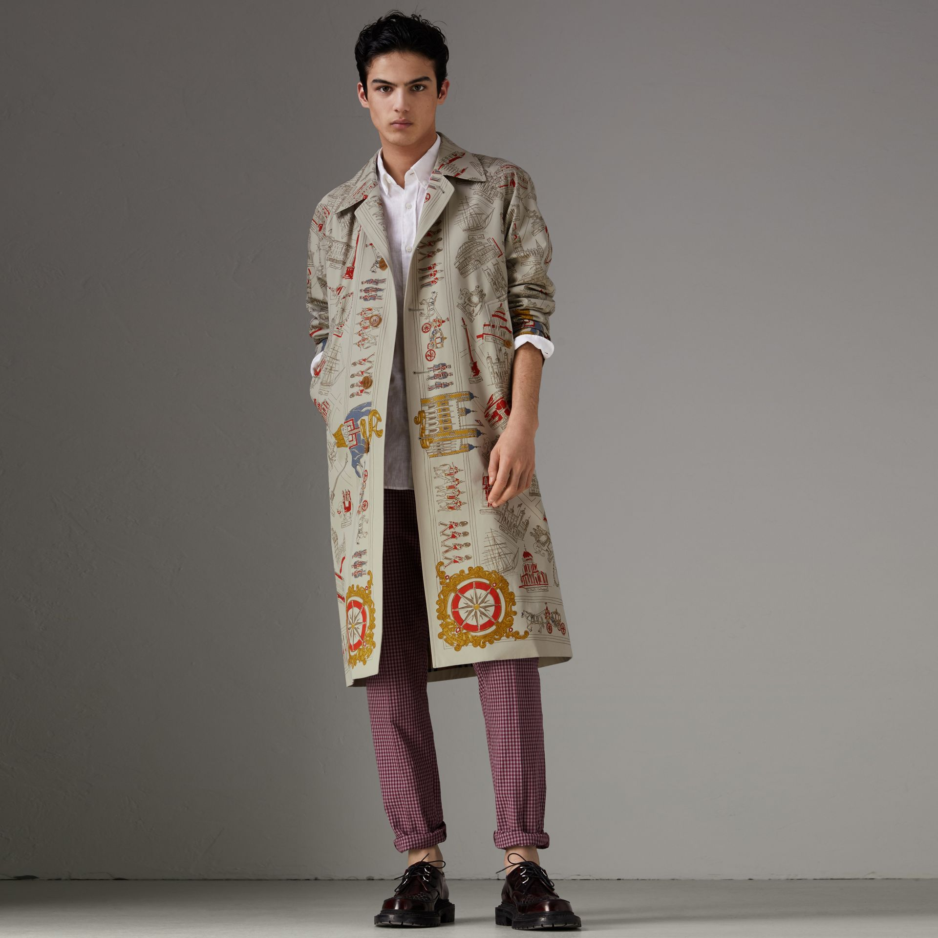 London Sketch Print Car Coat in Stone - Men | Burberry United Kingdom - gallery image 0