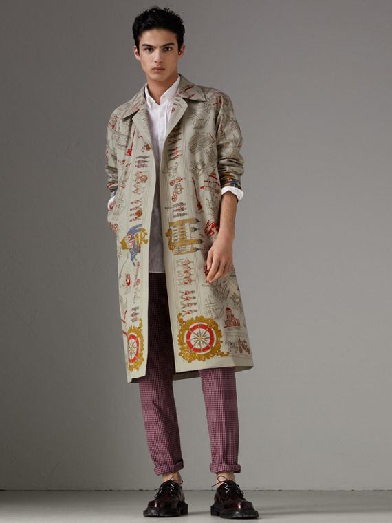 London Sketch Print Car Coat in Stone