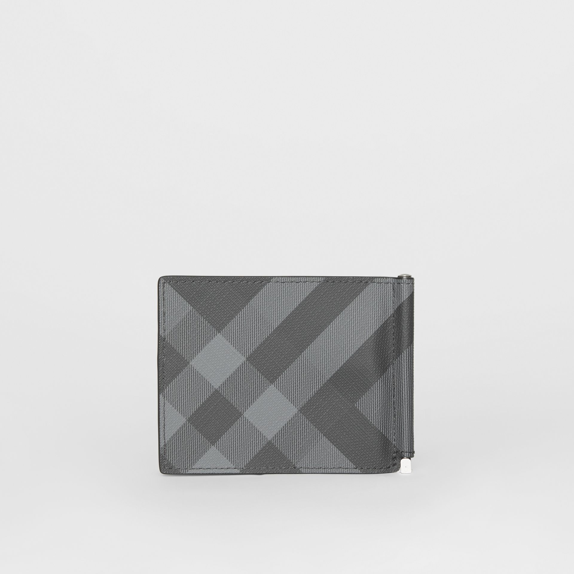 London Check and Leather Money Clip Card Wallet in Charcoal/black - Men | Burberry - gallery image 4