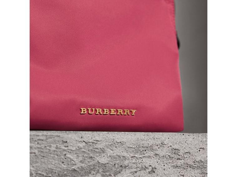 Large Zip-top Technical Nylon Pouch in Plum Pink - Women | Burberry - cell image 4