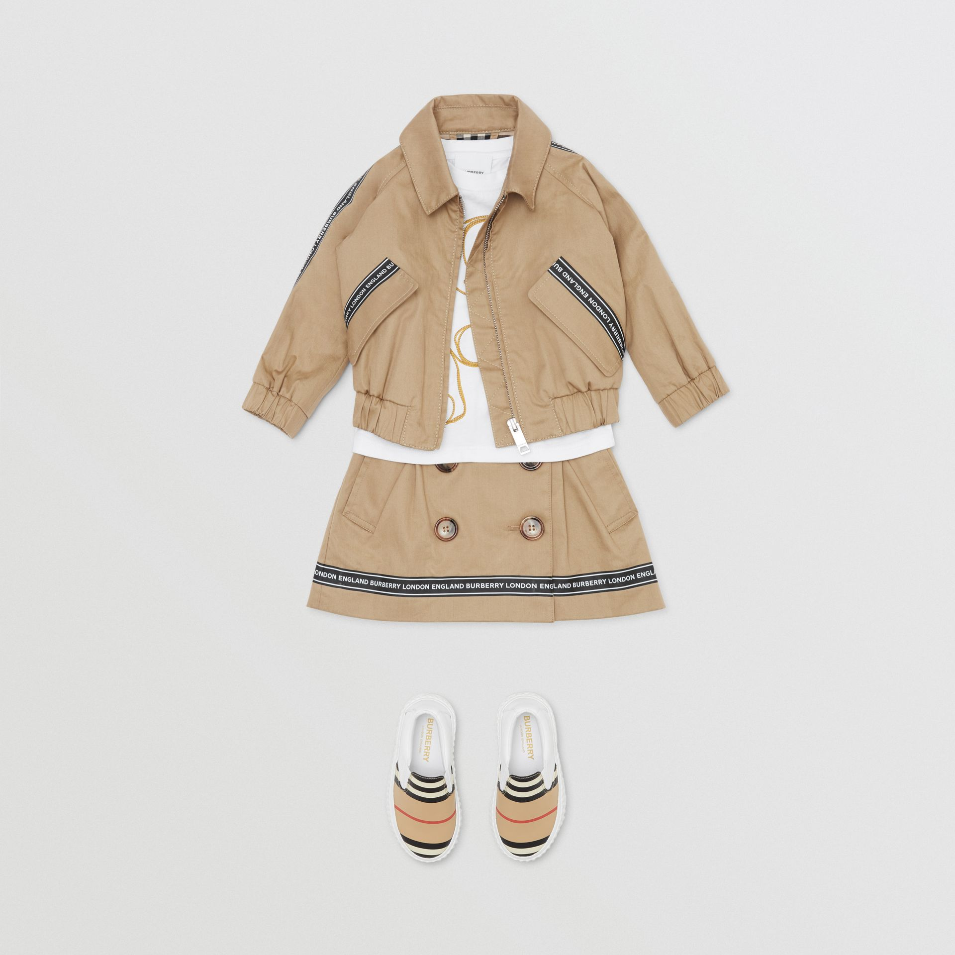 Logo Tape Cotton Harrington Jacket in Honey - Children | Burberry Singapore - gallery image 2