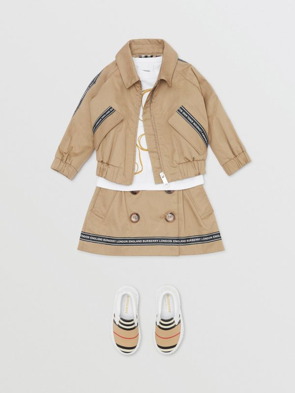 Logo Tape Cotton Harrington Jacket in Honey - Children | Burberry Singapore - cell image 2