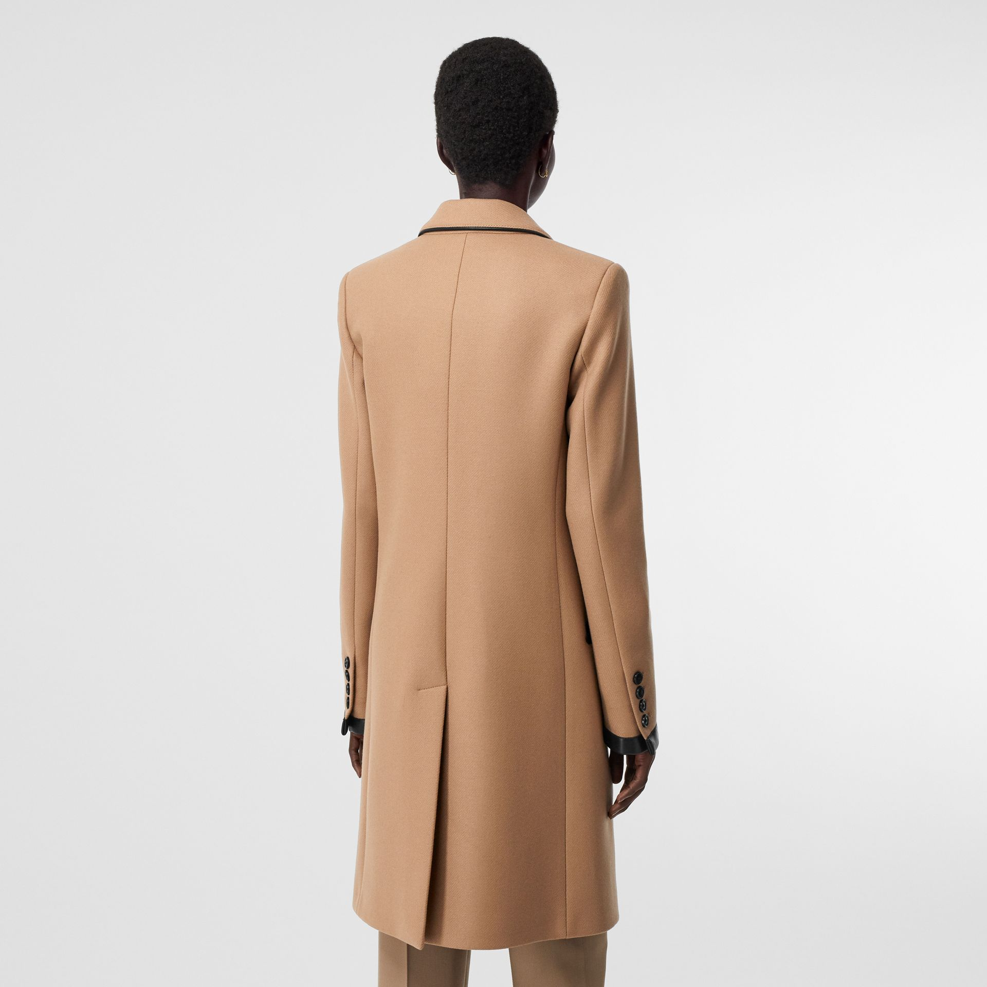 Lambskin Trim Wool Cashmere Blend Tailored Coat in Camel - Women | Burberry United Kingdom - gallery image 2