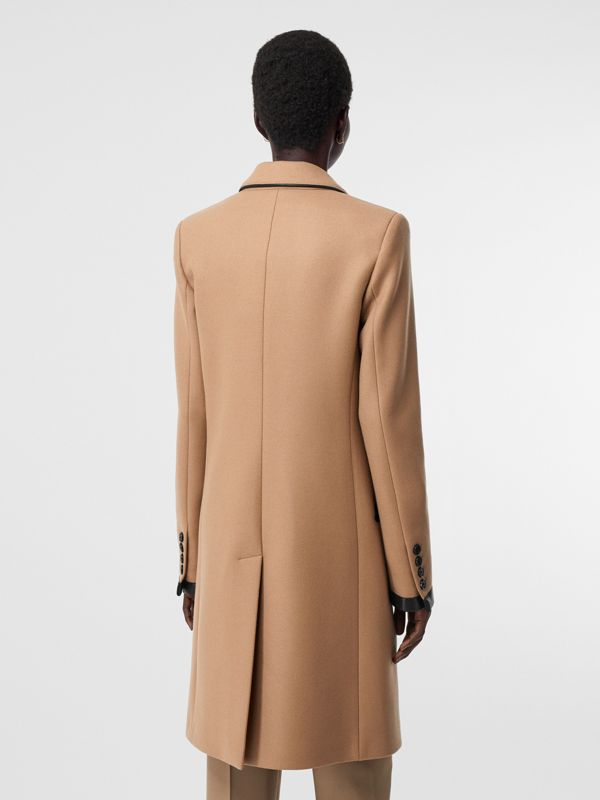 Lambskin Trim Wool Cashmere Blend Tailored Coat in Camel - Women | Burberry United Kingdom - cell image 2