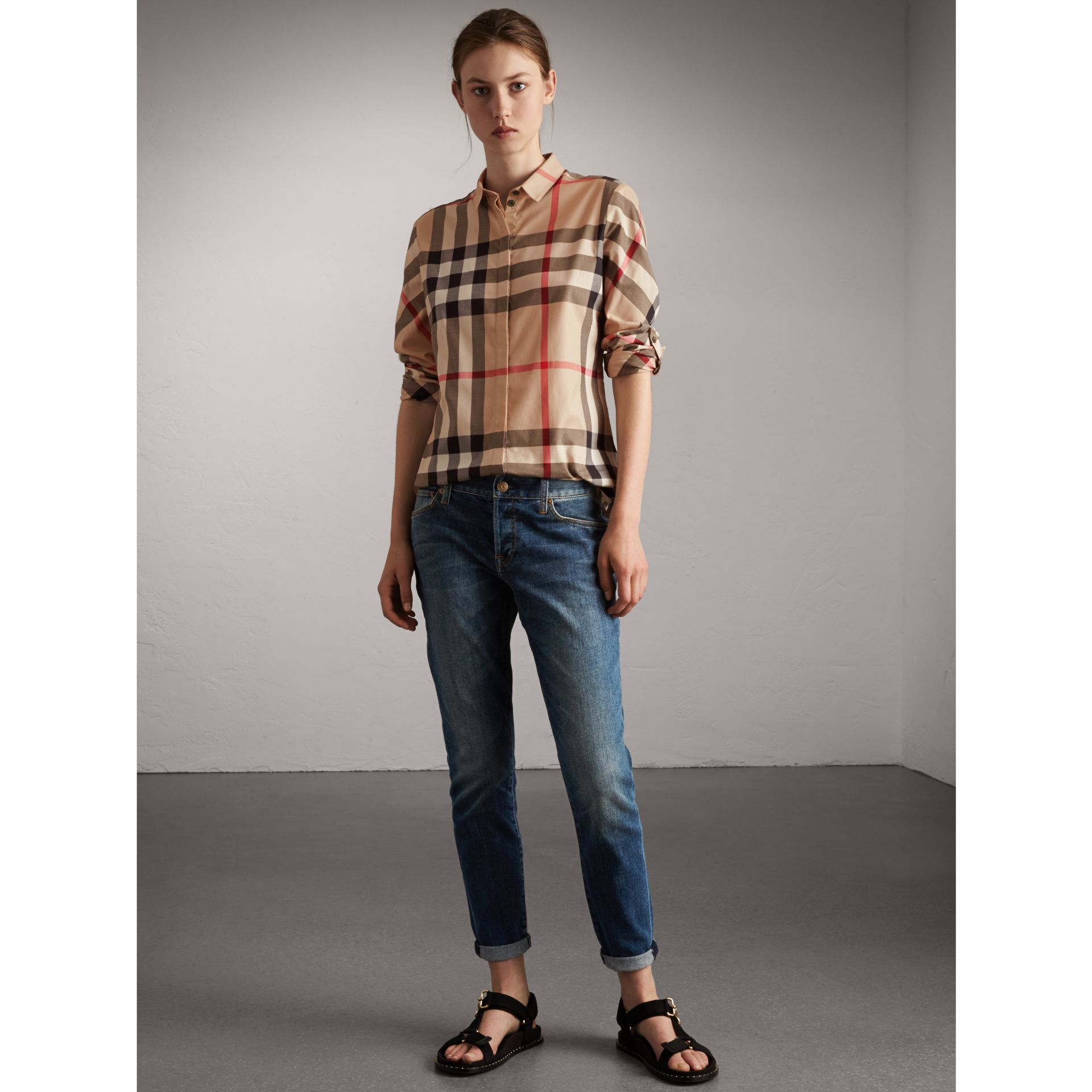 Stretch-Cotton Check Shirt in New Classic - Women | Burberry - gallery image 4