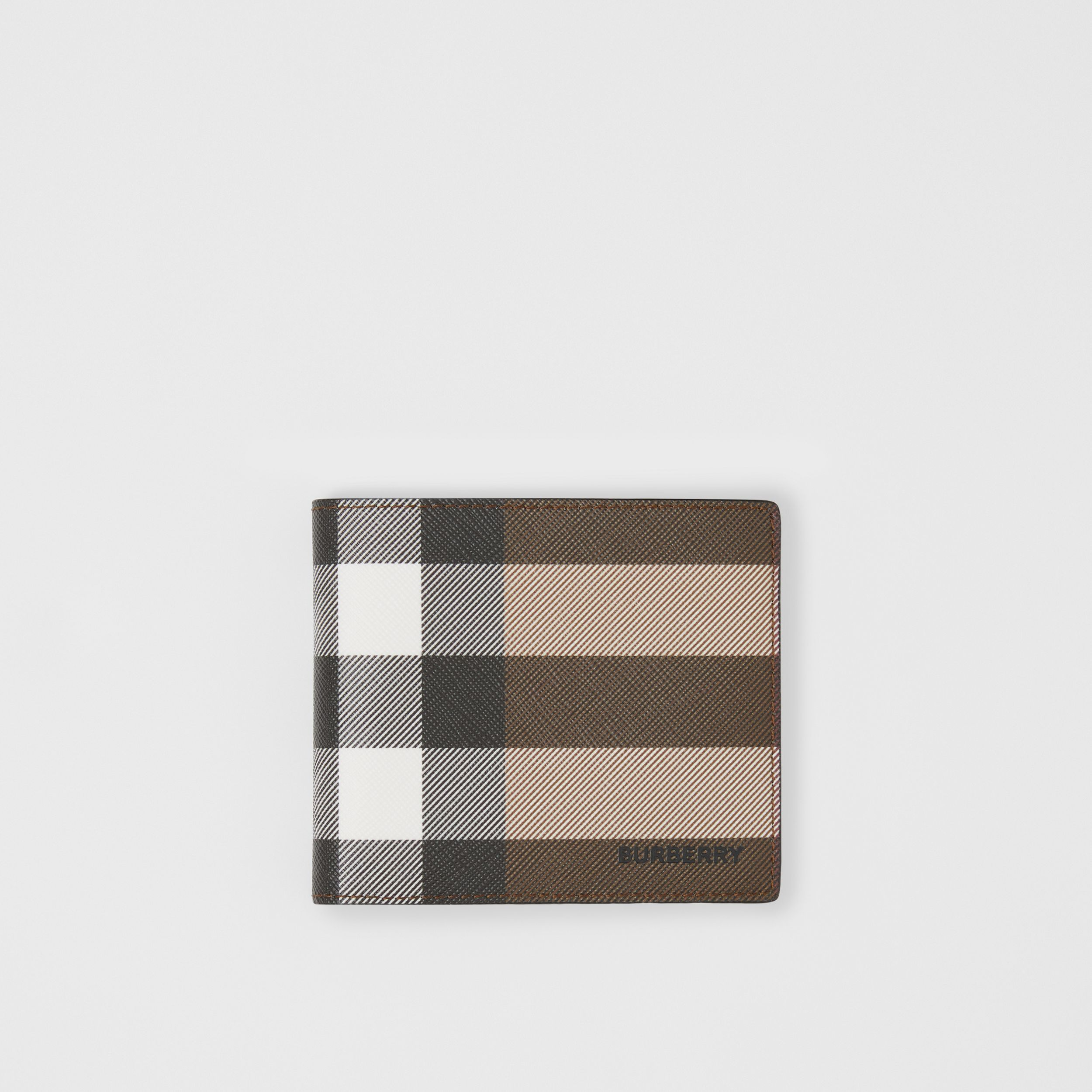 Check E-canvas International Bifold Wallet in Dark Birch Brown - Men | Burberry - 1