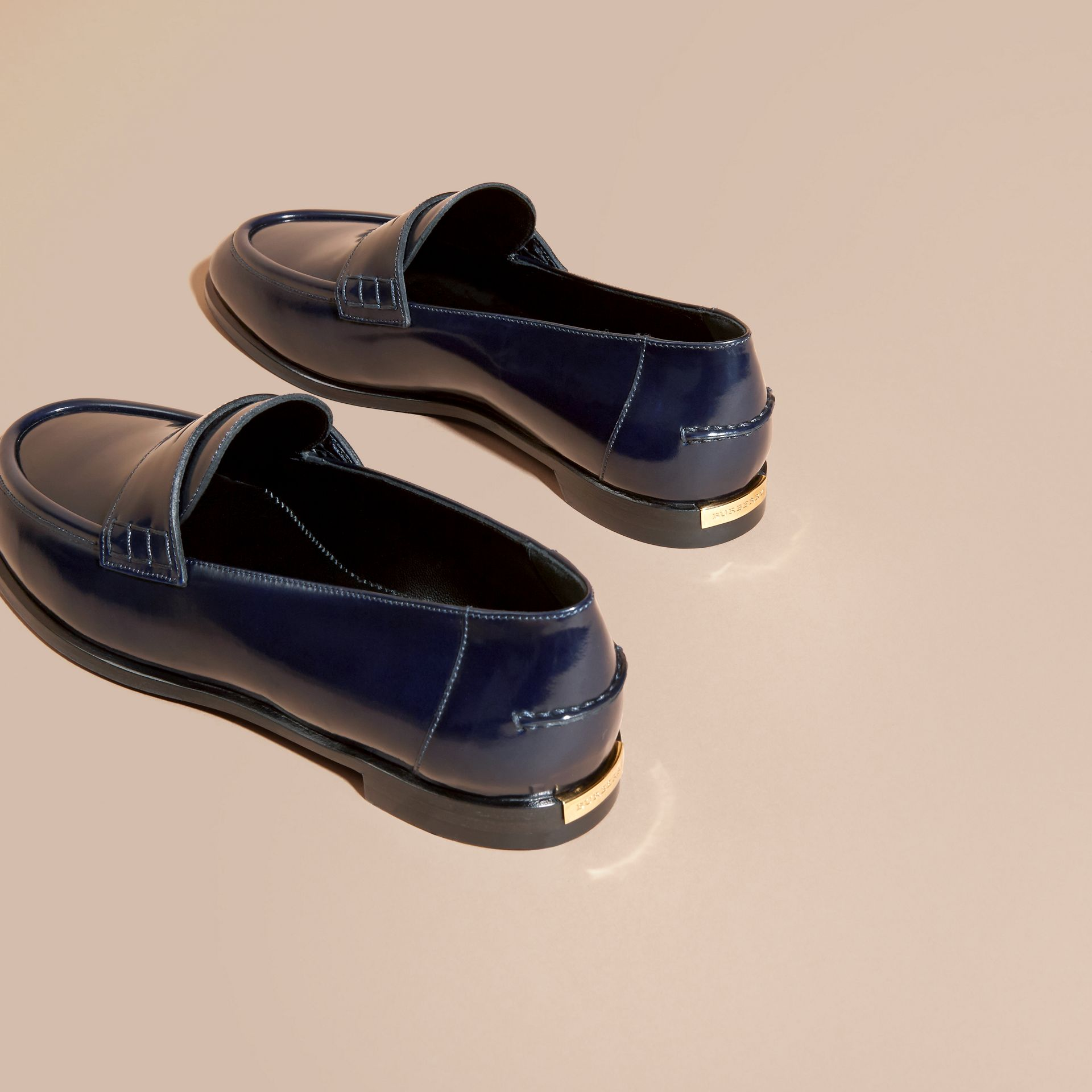 Ink blue Polished Leather Loafers Ink Blue - gallery image 4