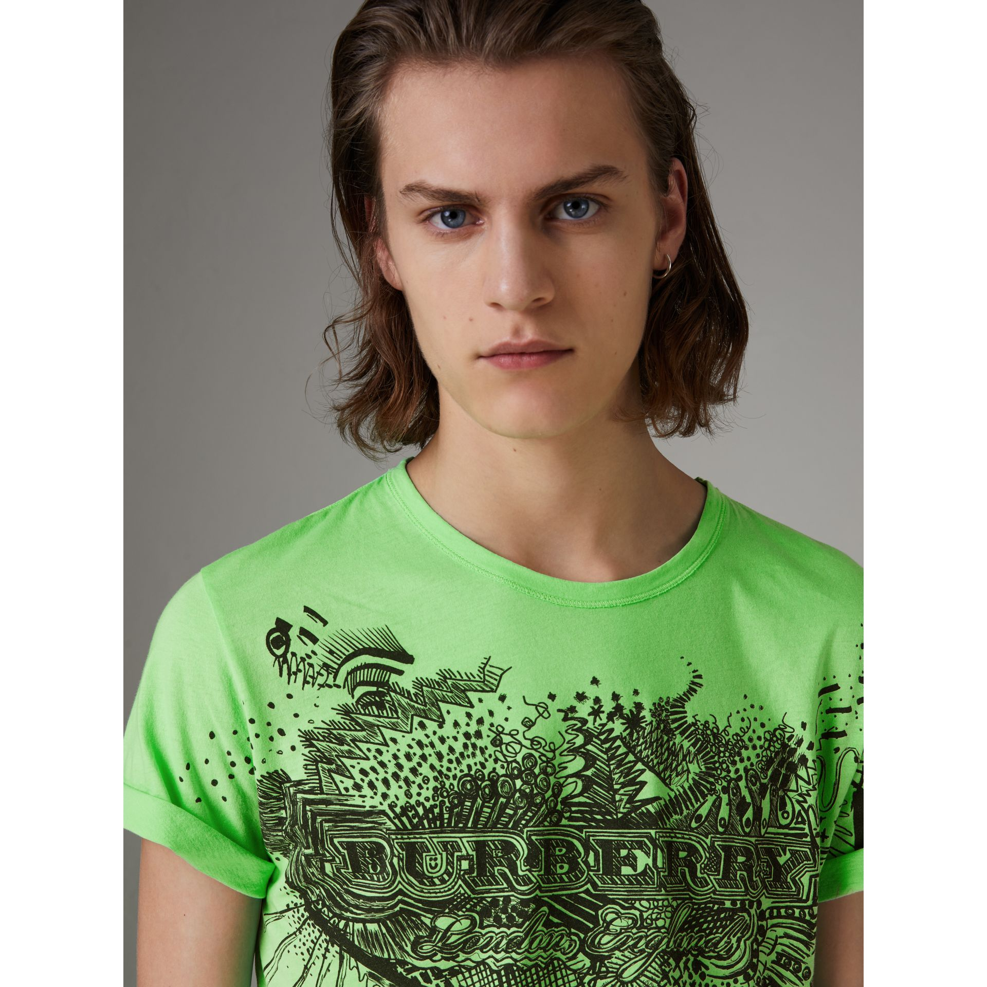 Doodle Print Cotton T-shirt in Bright Apple Green - Men | Burberry - gallery image 1