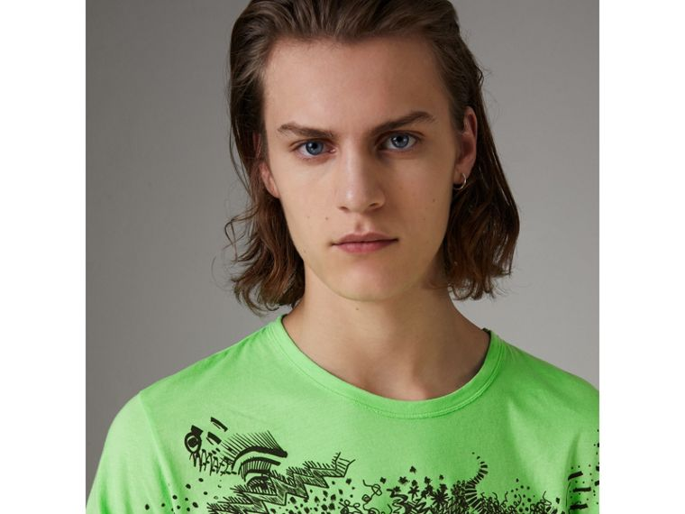 Doodle Print Cotton T-shirt in Bright Apple Green - Men | Burberry - cell image 1