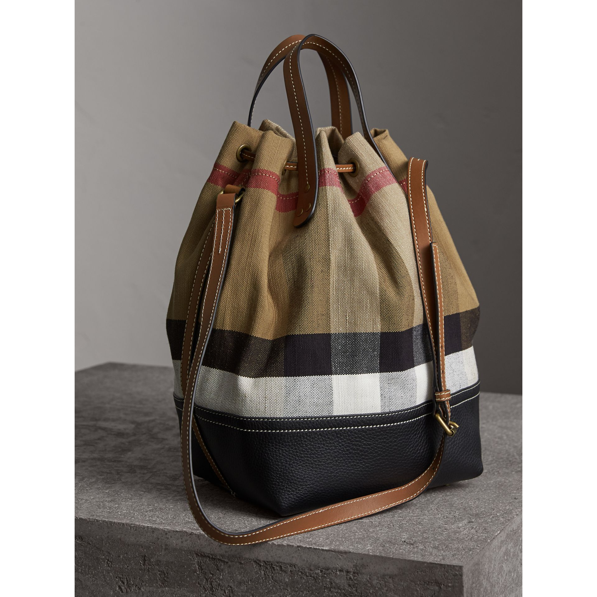 Medium Canvas Check Bucket Bag in Tan - Women | Burberry - gallery image 4