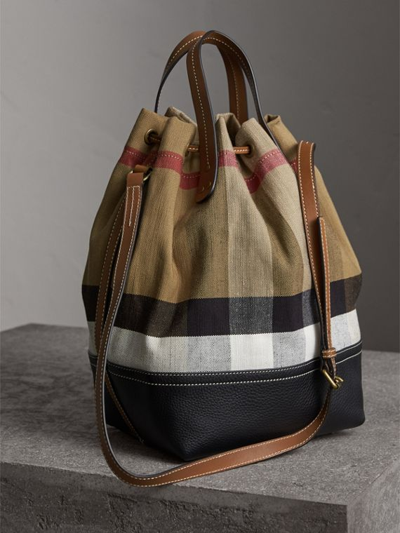 Medium Canvas Check Bucket Bag in Tan - Women | Burberry Hong Kong - cell image 3