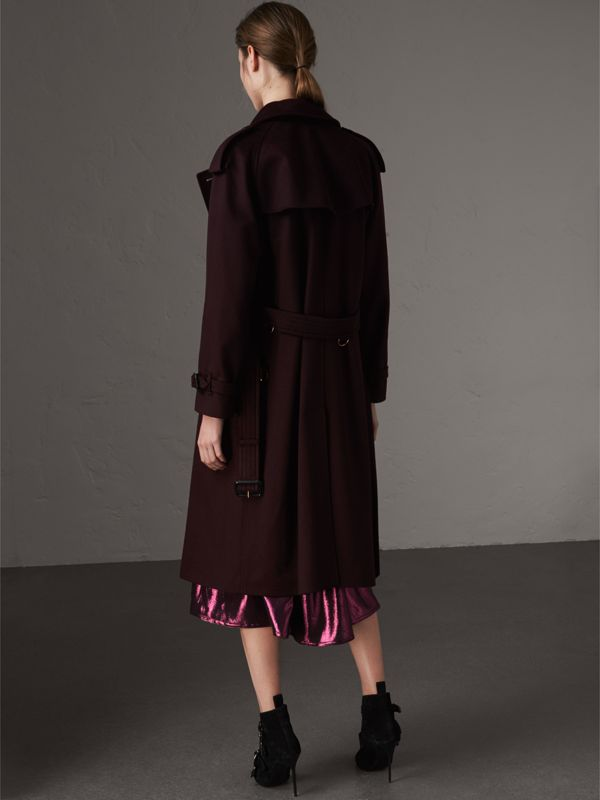 Cashmere Trench Coat in Blackcurrant - Women | Burberry - cell image 2